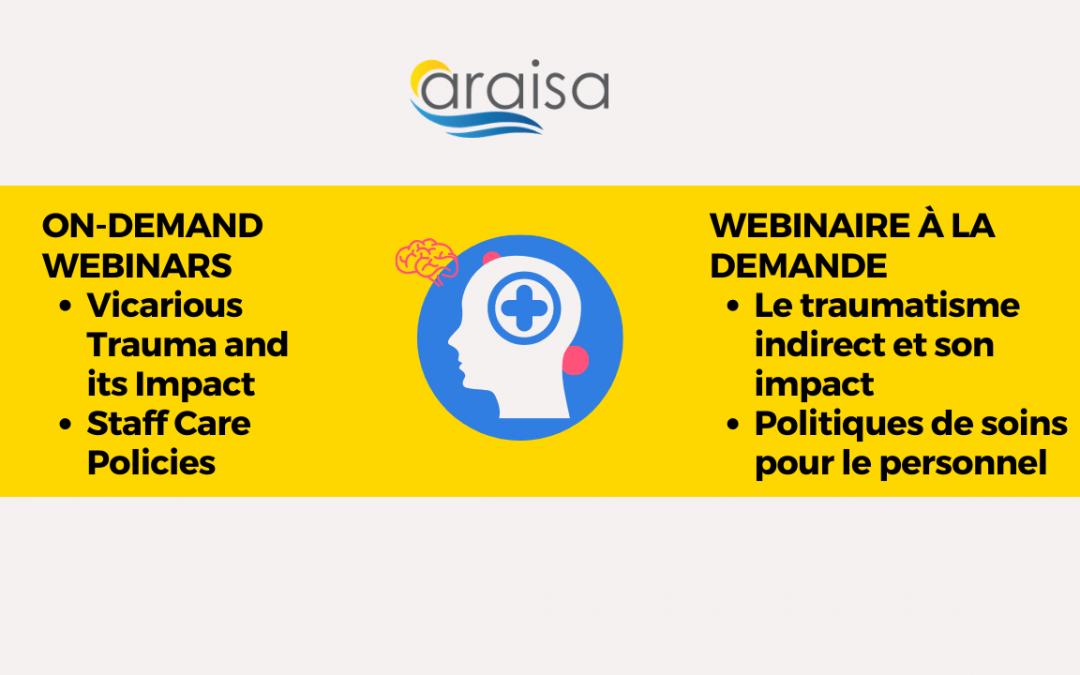 Les webinaires d'ARAISA sur la santé mentale sont maintenant disponibles à la demande